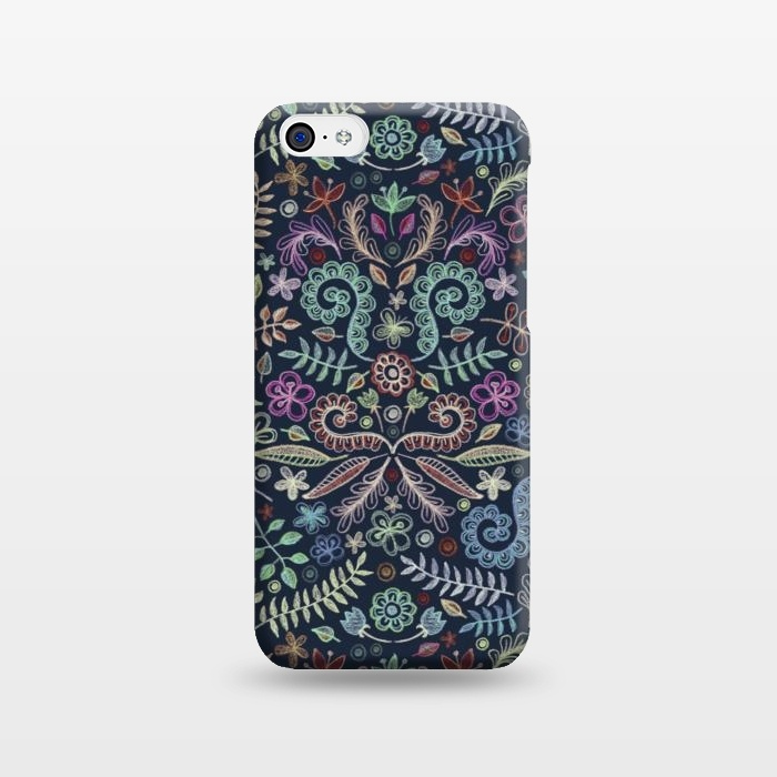 AC1238510, Phone Cases, iPhone 5C, SlimFit, Micklyn Le Feuvre, Colored Chalk Floral Doodle Pattern, Designers,
