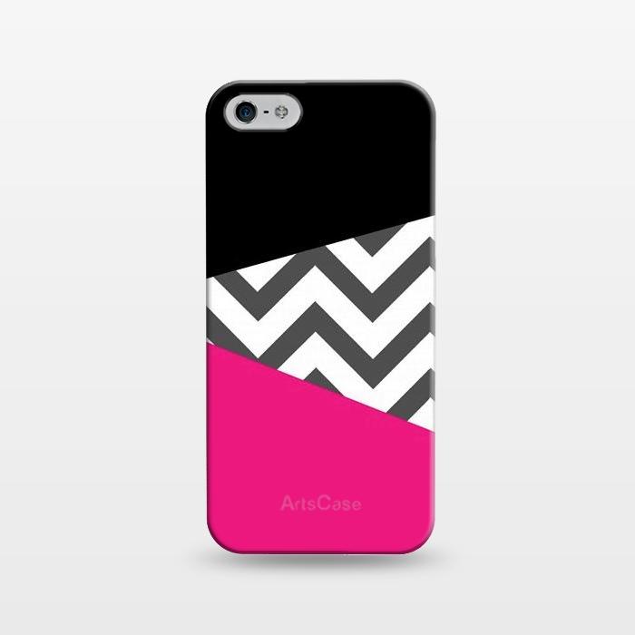 AC1243395, Phone Cases, iPhone 5/5E/5s, SlimFit, Josie Steinfort , Color Blocked Chevron Black Pink , Designers,