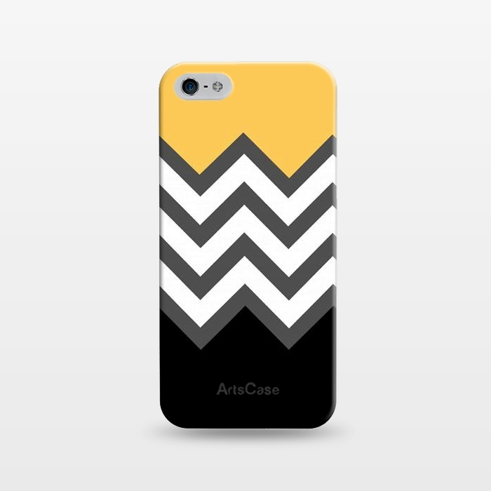 AC1243396, Phone Cases, iPhone 5/5E/5s, SlimFit, Josie Steinfort , Color Blocked Chevron Black Yellow, Designers,
