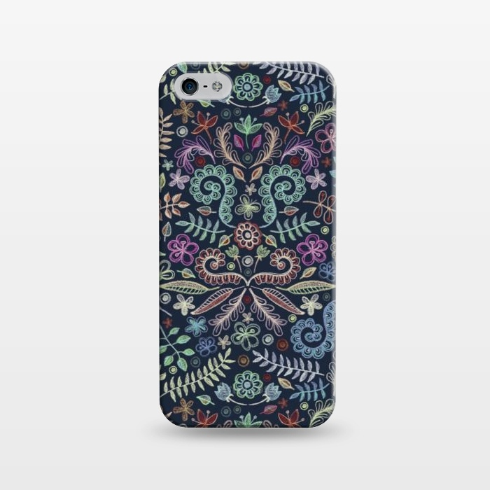 AC1243510, Phone Cases, iPhone 5/5E/5s, SlimFit, Micklyn Le Feuvre, Colored Chalk Floral Doodle Pattern, Designers,