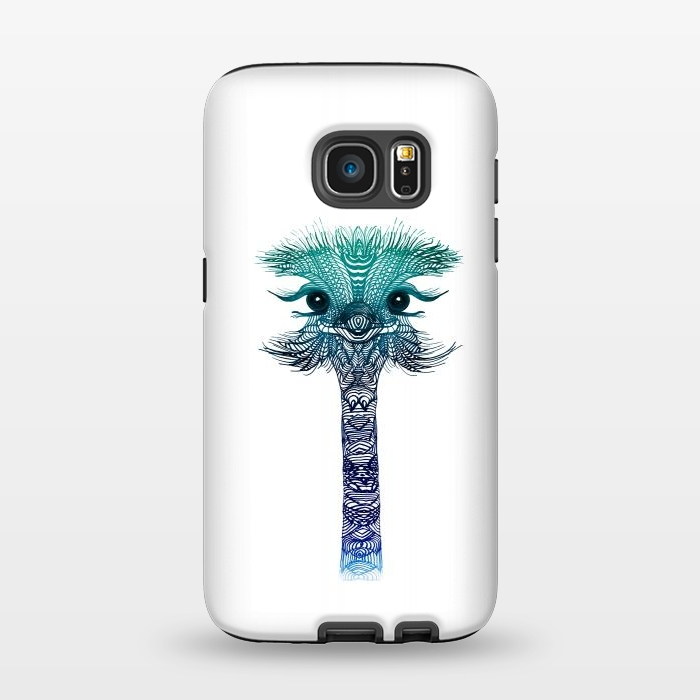AC1345359, Phone Cases, Galaxy S7, StrongFit, Monika Strigel, Ostrich Strigel Blue Mint, Designers,