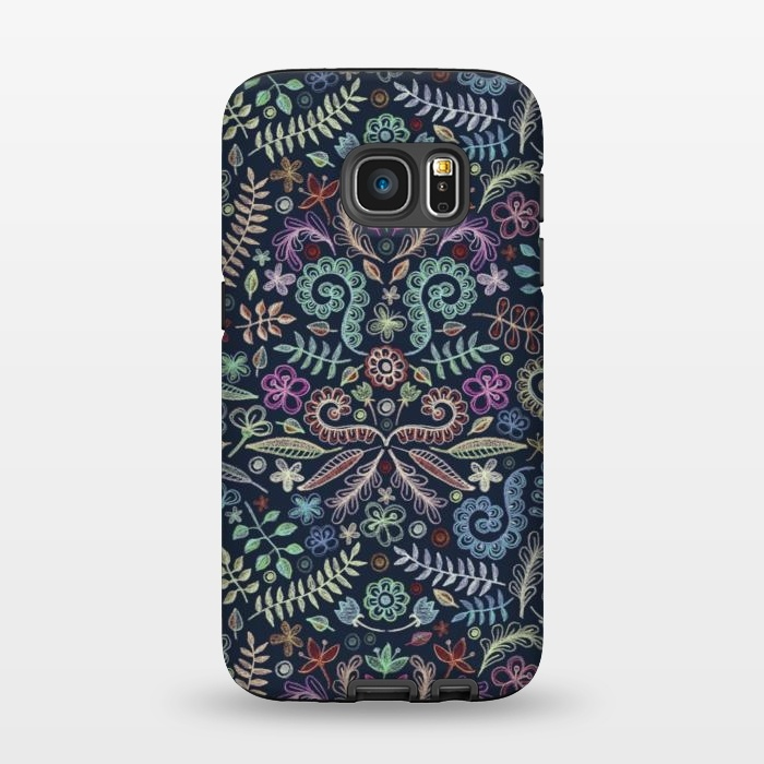 AC1345510, Phone Cases, Galaxy S7, StrongFit, Micklyn Le Feuvre, Colored Chalk Floral Doodle Pattern, Designers,