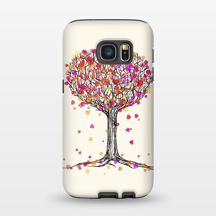 AC1345513, Phone Cases, Galaxy S7, StrongFit, Micklyn Le Feuvre, Love in the Fall Heart Tree Illustration, Designers,