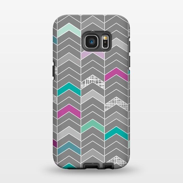 AC1346286, Phone Cases, Galaxy S7 EDGE, StrongFit, Rosie Simons, Chevron Grey, Designers,