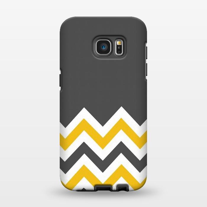 AC1346392, Phone Cases, Galaxy S7 EDGE, StrongFit, Josie Steinfort , Color Blocked Chevron Mustard Gray, Designers,