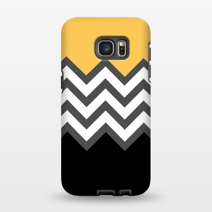 AC1346396, Phone Cases, Galaxy S7 EDGE, StrongFit, Josie Steinfort , Color Blocked Chevron Black Yellow, Designers,