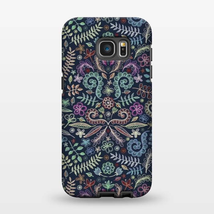 AC1346510, Phone Cases, Galaxy S7 EDGE, StrongFit, Micklyn Le Feuvre, Colored Chalk Floral Doodle Pattern, Designers,