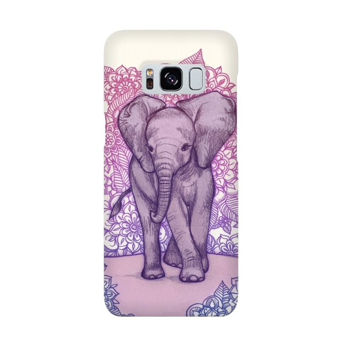 Cute Baby Elephant in pink purple and blue
