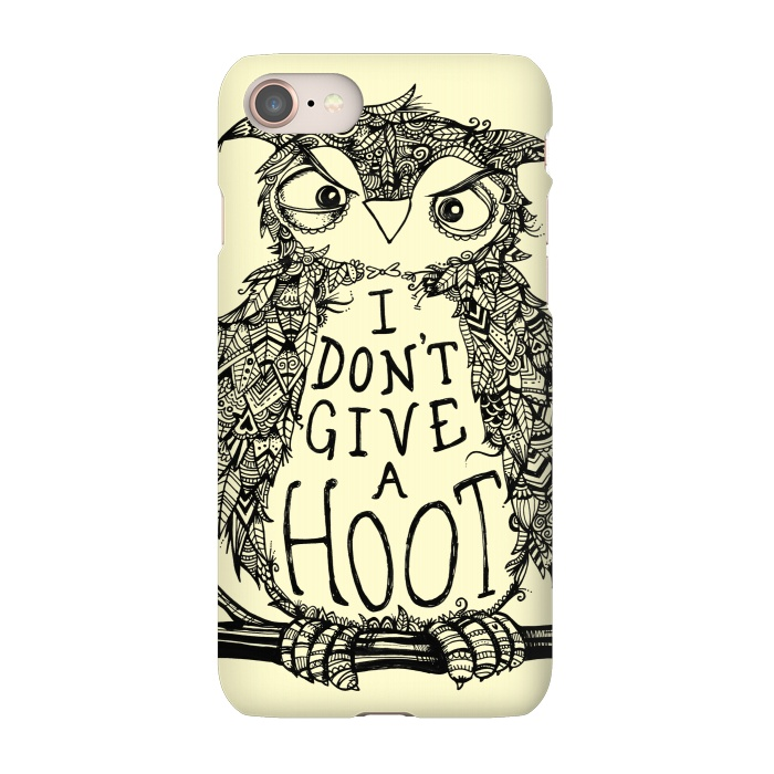 AC-00027699, Phone Cases, iPhone 7, SlimFit, Wotto, No Hoots Given, Designers,Nature,owl,hoot,attitude, type, saying, slogan,no hoots,grumpy,owl art,pattern,detailed,drawing,hand drawn,bird,tree,cream,angry bird,typography,slogan art,inspirational,no worries,no cares,free,wotto, cute character, cute bird