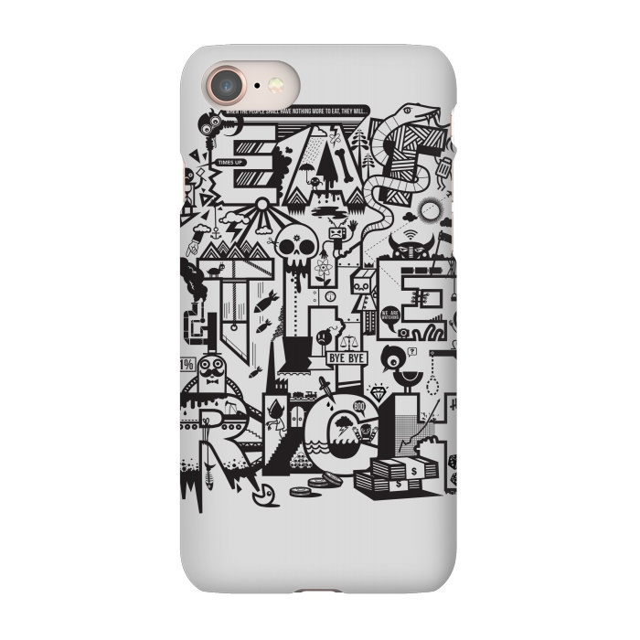 AC-00027874, Phone Cases, iPhone 7, SlimFit, Wotto, Eat The Rich, Designers,eat the rich,anti capitalist,capitalism,1%,typography,money, greed,sayings, slogan,type, vector,vector art, wotto,characters,black and white, line art