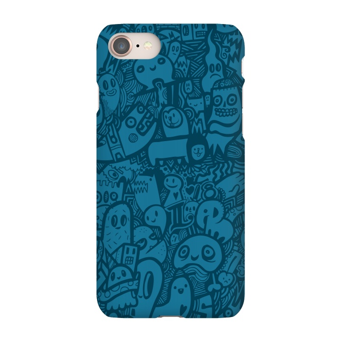 AC-00030211, Phone Cases, iPhone 7, SlimFit, Wotto, Blue Doodle, Designers,Doodle, doodles,characters, blue,doodle art, detailed,illustration, sketch, drawing, fun, illustrative,lines, blue only, color,animals,cute art, kawaii