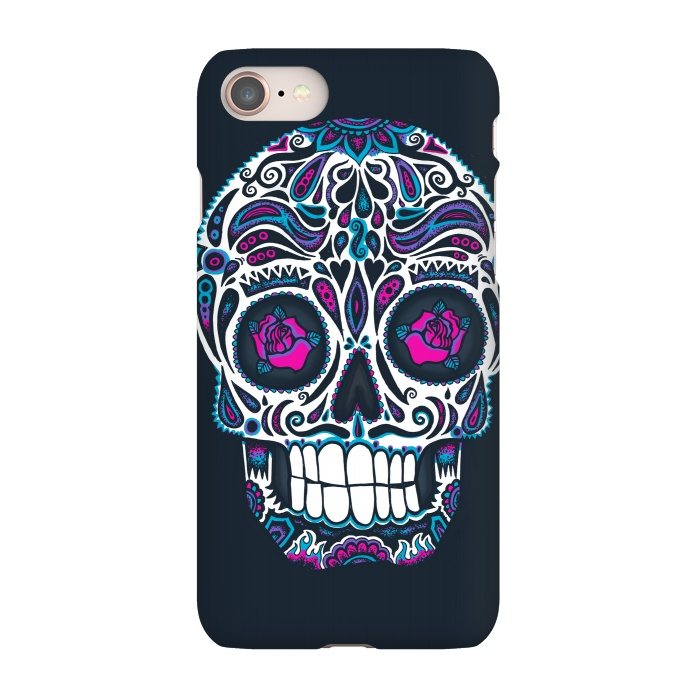 AC-00030228, Phone Cases, iPhone 7, SlimFit, Wotto, Calavera IV Neon , Designers,skull, day of the dead,skulls,floral,sugar skull,neon, neon colors, colorful, death, dead, skull face,roses,flowers,patterned,calavera,mexican art, Mexico, pattern,cool, wotto,dark arts