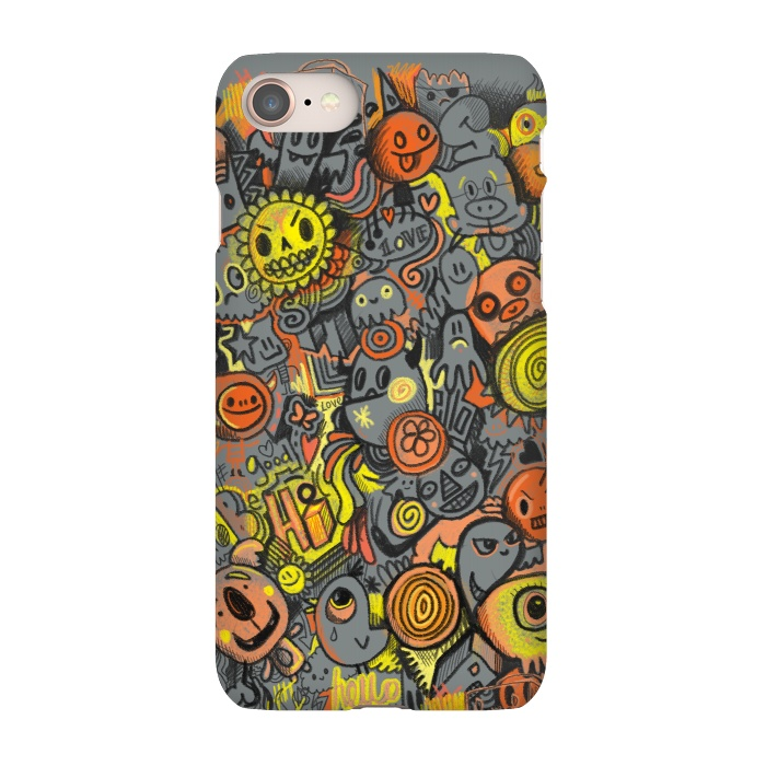 AC-00030277, Phone Cases, iPhone 7, SlimFit, Wotto, Pencil People, Designers,pencil, drawing, drawn, hand drawn, sketch,yellow, orange,draw,doodle,doodles,doodle art, wotto,characters, cute, kawaii, fun, bright, bold, colorful, color,summer