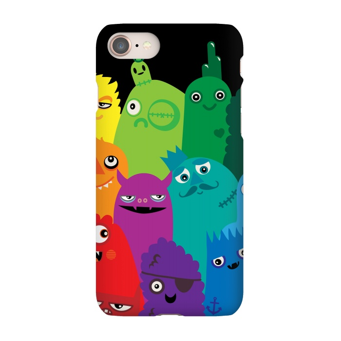 AC-00030307, Phone Cases, iPhone 7, SlimFit, Wotto, Phone full of Monsters, Designers,bright, monsters, colorful,bold, characters, kids, child friendly,fun, unique,rainbow,monster,funny,cute, kawaii, wotto,vector art, vectors