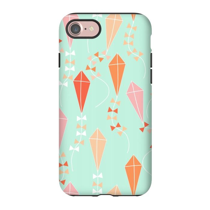 AC-00033624, Phone Cases, iPhone 7, StrongFit, Sarah Price Designs, let's go fly a kite, Designers,kite,sky,windy,fly,blue,pink,orange