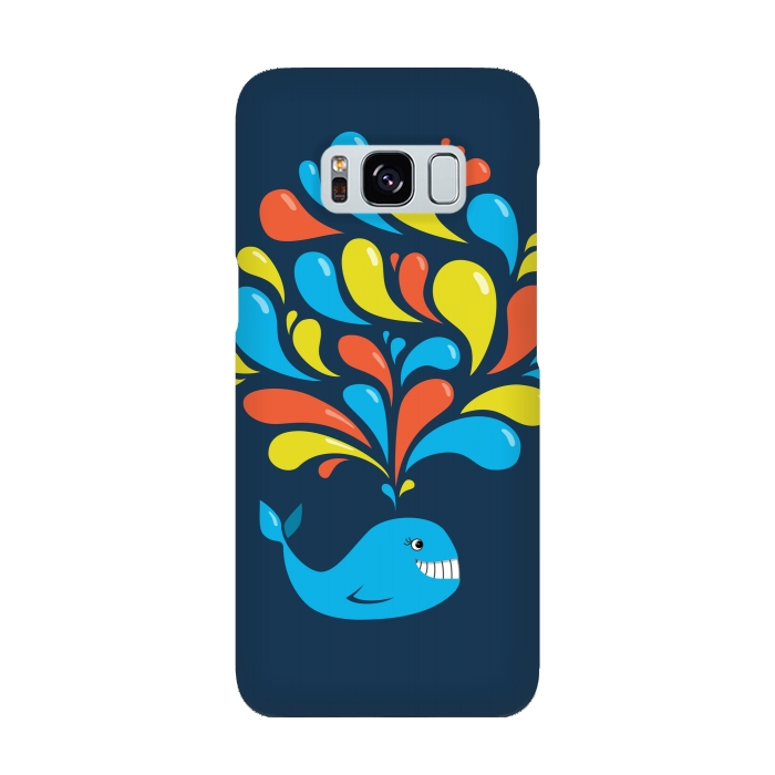 Cute Colorful Splash Cartoon Blue Whale For Galaxy S8
