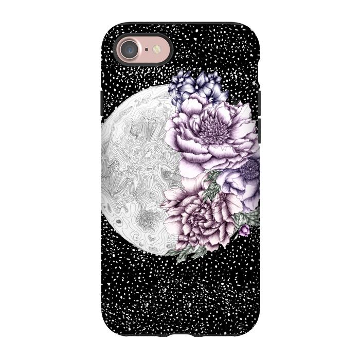 AC-00042820, Phone Cases, iPhone 7, StrongFit, Elizabeth Mazur, Moon Abloom II, Designers,stars,space,moon,luna,floral,flowers,surrealism,pen and ink
