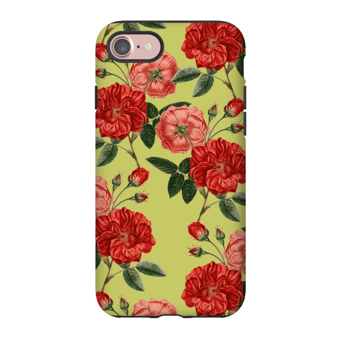 AC-00052885, Phone Cases, iPhone 8/7, StrongFit, Zala Farah, Rosie Love, Designers,roses,red,red flowers,red roses,nature,vintage,vintage flowers,floral art,botanic,botanical,botanic art,style,chic,pretty,cute,lush,designer floral print,artistic,collage,zala02creations