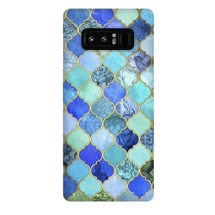 Cobalt Blue Aqua and Gold Decorative Moroccan Tile Pattern