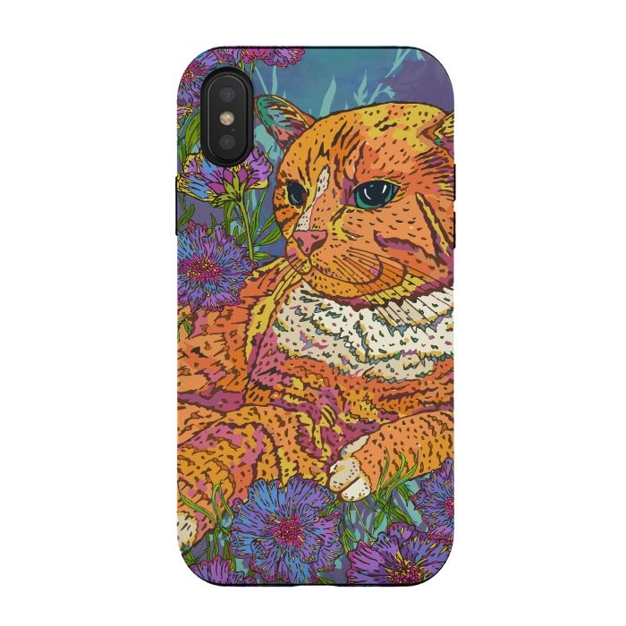 Ginger Cat in Flowers