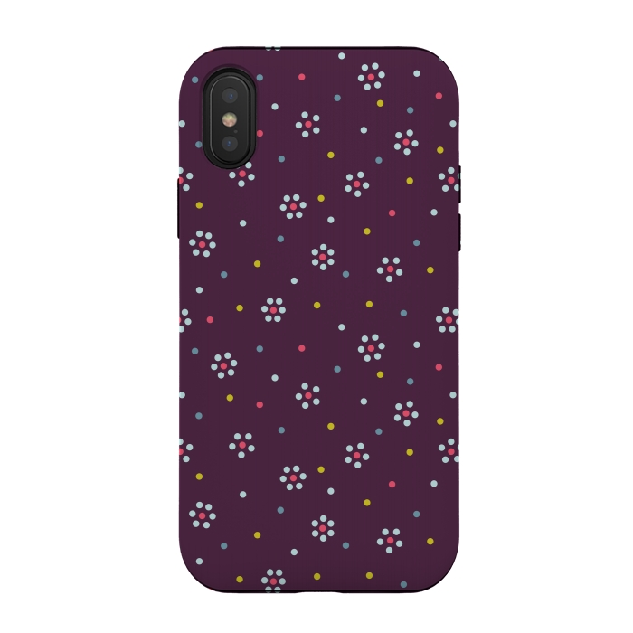Flowers Made Of Dots Pattern On Purple
