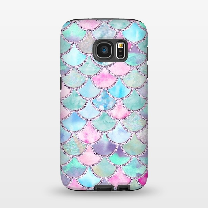 Multicolor Pink & Blue Watercolor Mermaid Scales