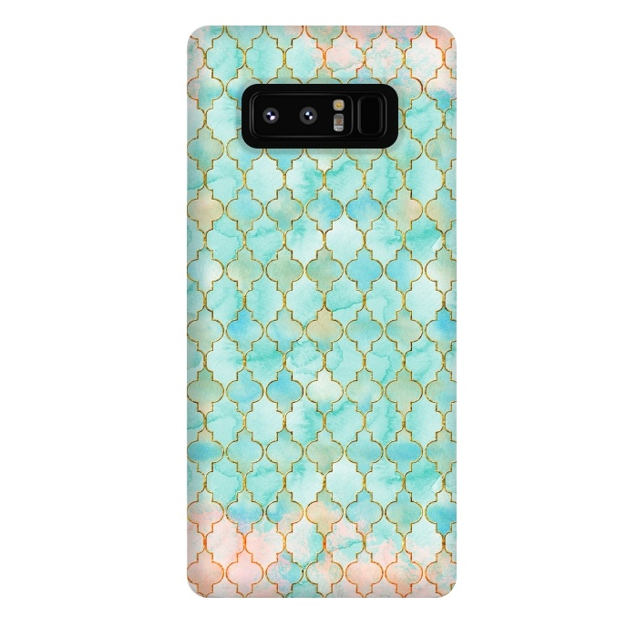 Multicolor Teal Pink Moroccan Shapes Pattern