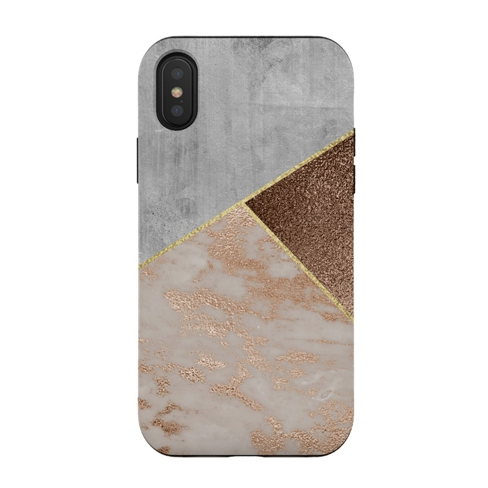 ROse Gold Copper and Concrete Triangles Pattern