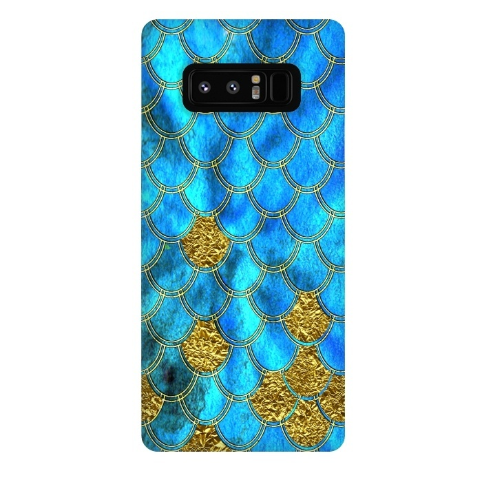 Blue and Gold Glitter Metal Mermaid Scales
