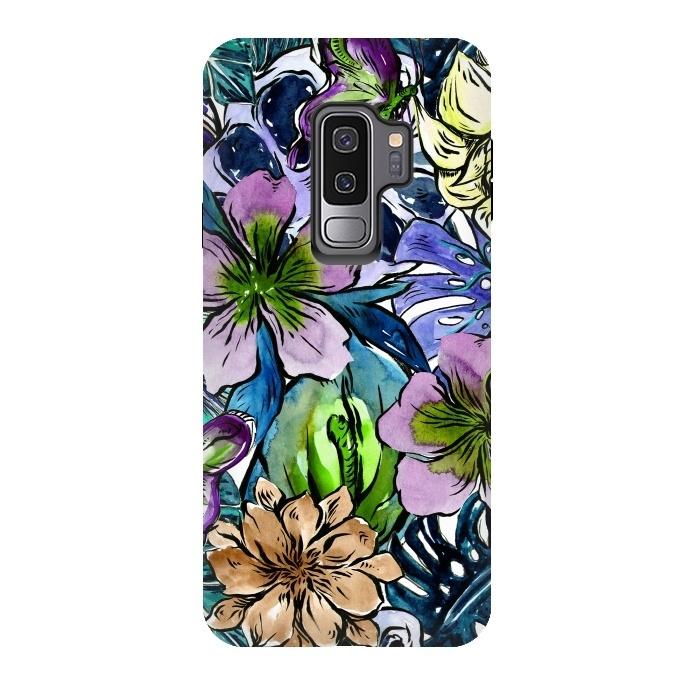 Purple Aloha Hibiscus Tropical Flower Pattern
