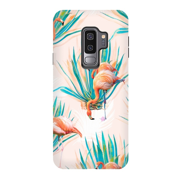 Anaglyph Flamingos with cactus - StrongFit Galaxy S9+ Cases | ArtsCase