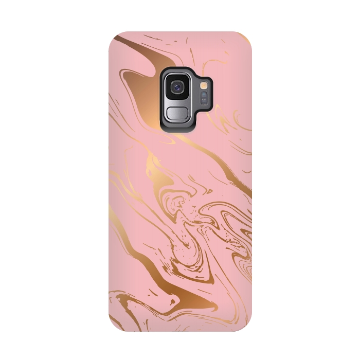 Liquid marble texture design, pink and gold