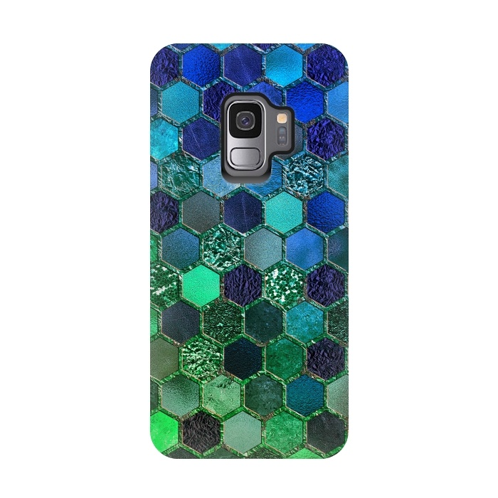 Green and Blue Metalic Honeycomb Pattern