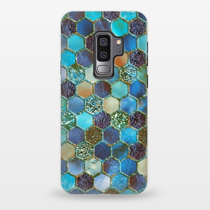Multicolor Blue Metal Honeycomb Pattern