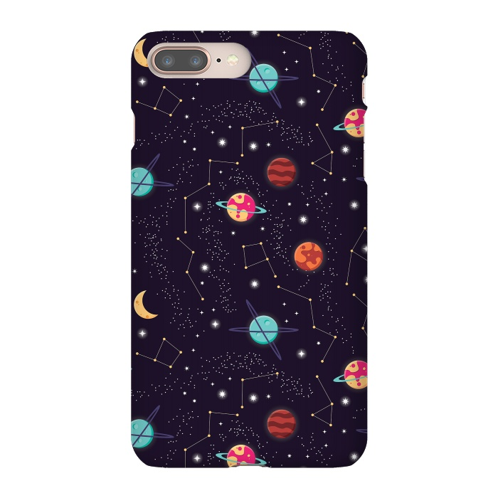 Universe with planets and stars seamless pattern, cosmos starry night sky 004