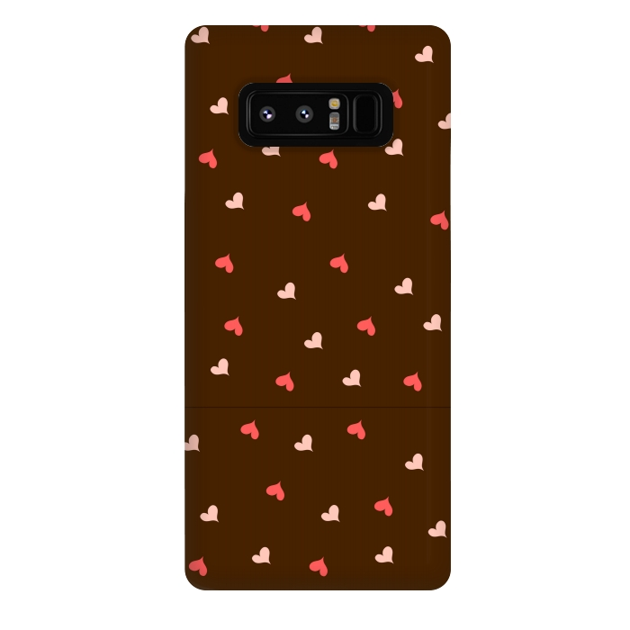 red hearts with brown background