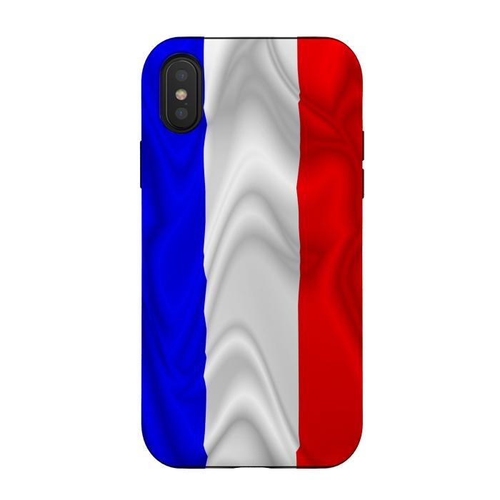 France Flag Waving Digital Silk Satin Fabric