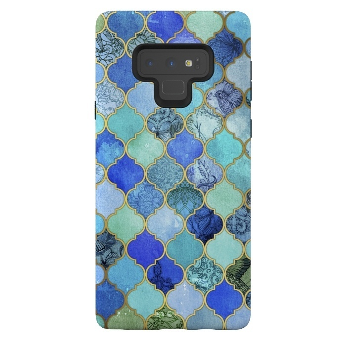 Cobalt Blue Aqua and Gold Decorative Moroccan Tile Pattern