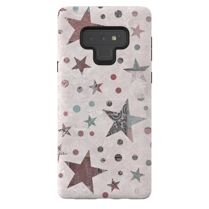Pink Teal Patchwork Star Pattern