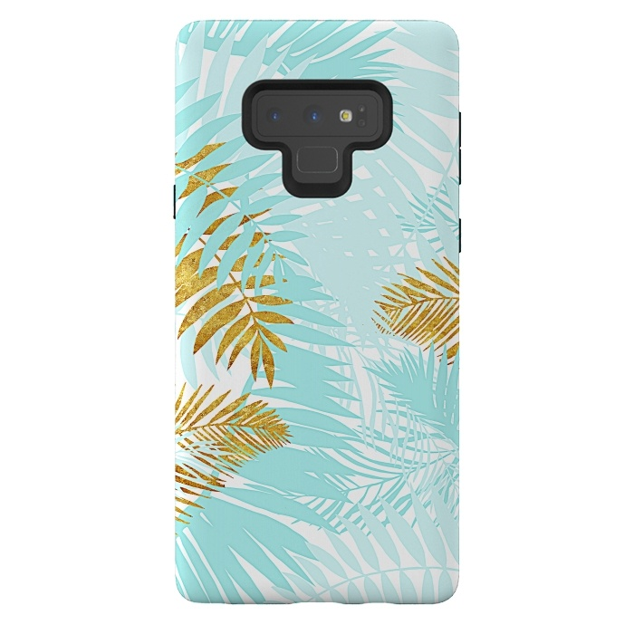 Teal and Gold Palm Leaves