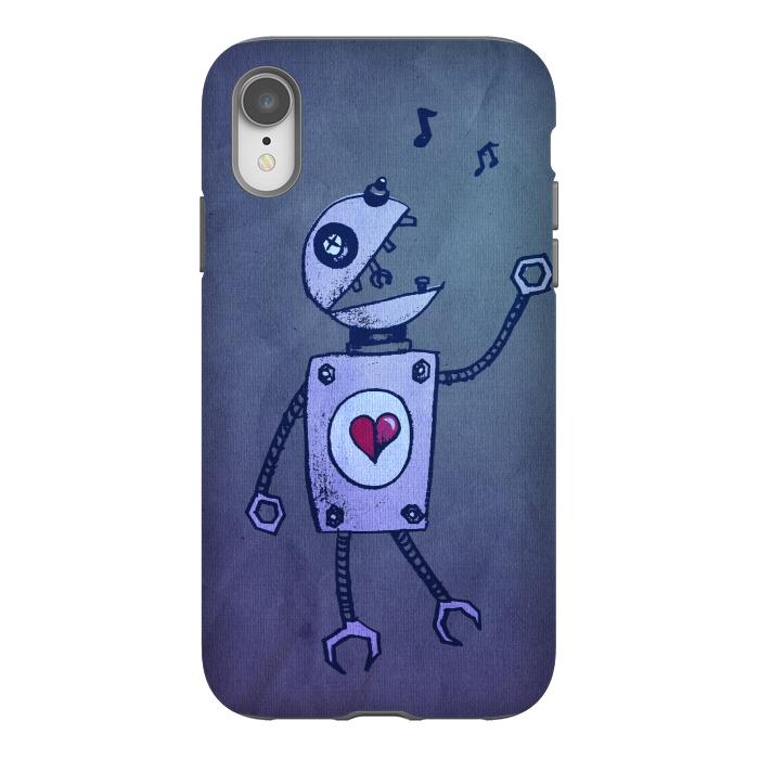 Blue Happy Cartoon Singing Robot
