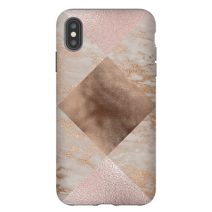 Rose Gold and Marble Quadrangle Pattern
