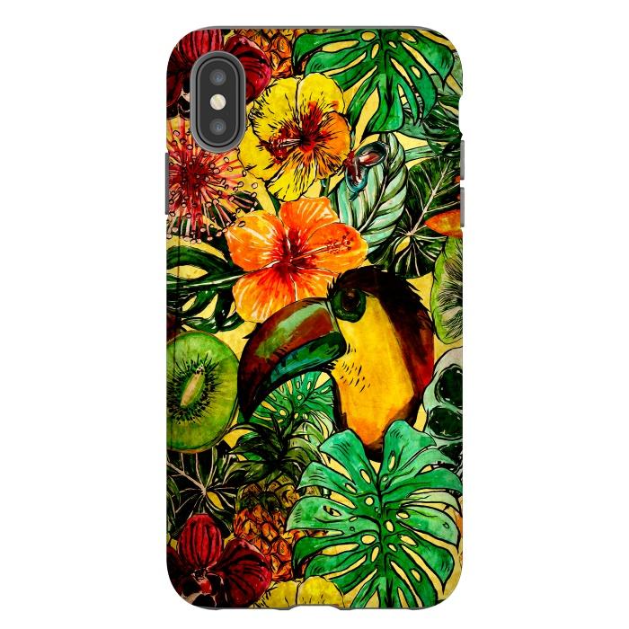 Tropical bird in flower jungle