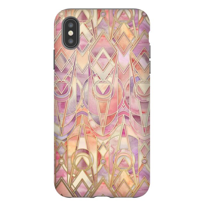 Glowing Coral and Amethyst Art Deco Pattern