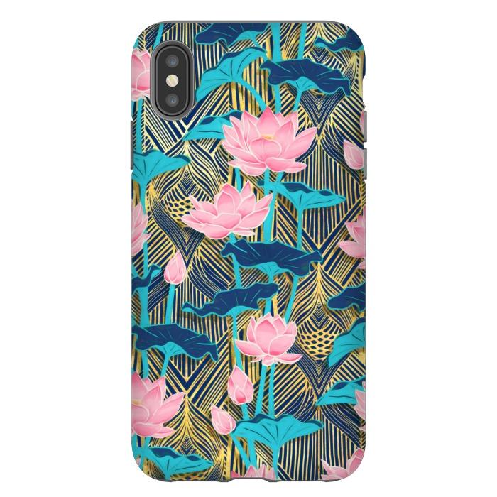 Art Deco Lotus Flowers in Pink & Navy