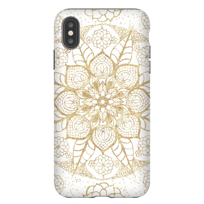 Stylish boho hand drawn golden mandala