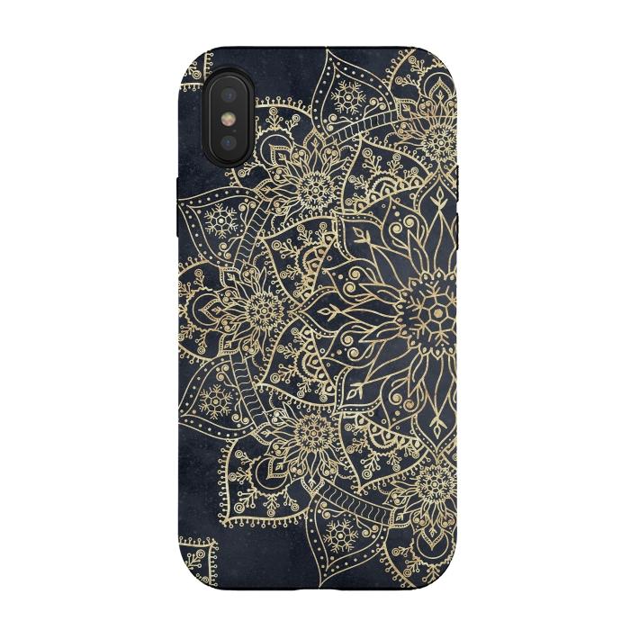 Elegant poinsettia flower and snowflakes mandala art