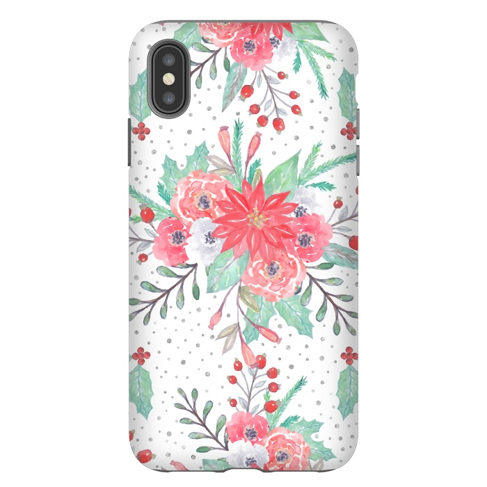 Pretty watercolor Christmas floral and dots design