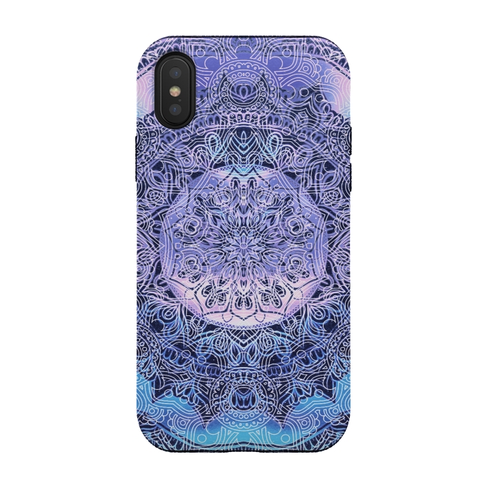 Purple blue ethnic gradient mandala flowers