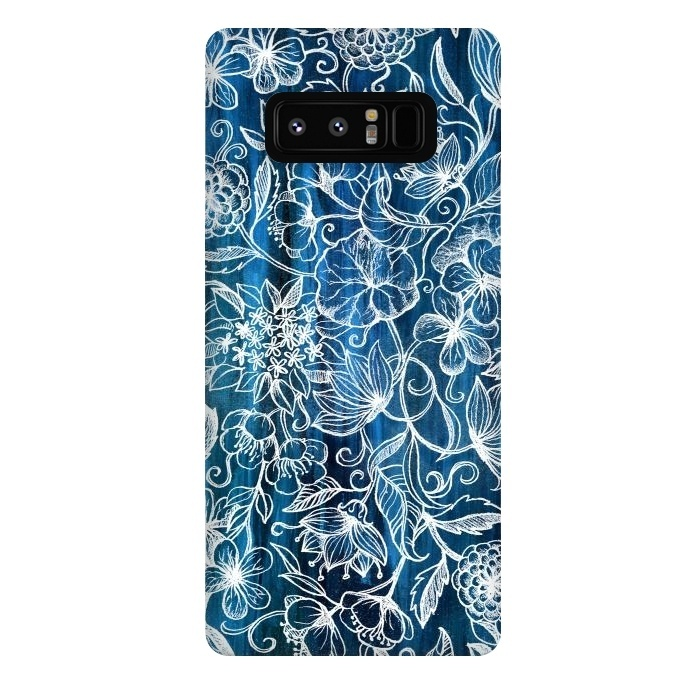 In Her Garden - white floral drawing on blue